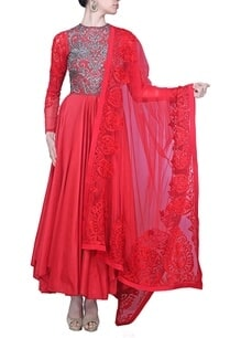 red-and-silver-embroidered-anarkali-set