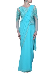 aqua-blue-motif-embroidered-sari-gown