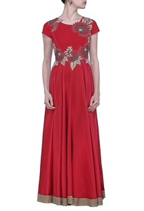 deep-red-floral-embroidered-dress