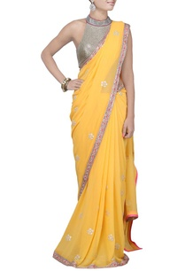 mango-yellow-embroidered-sari-with-raani-pink-blouse