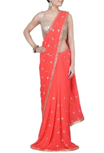 neon-orange-sequin-embellished-sari
