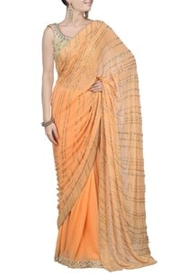 orange-sequin-striped-embellished-sari