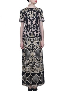 black-and-beige-floral-embroidered-dress