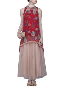 red-floral-embroidered-top-with-pale-pink-skirt