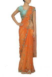 orange-embroidered-sari-with-sky-blue-choli