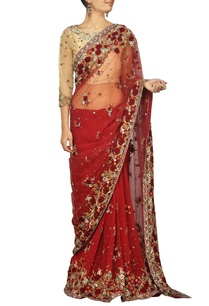 maroon-and-beige-rose-embroidered-sari