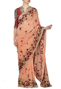 peach-and-deep-red-rose-embroidered-sari