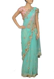 turquoise-embellished-sari-with-pink-choli