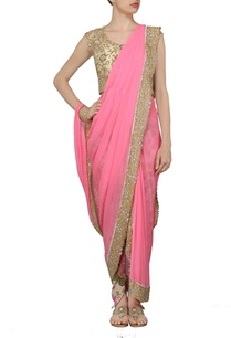 carnation-pink-and-floral-printed-dhoti-sari