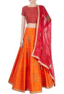 red-orange-sequin-embellished-lehenga