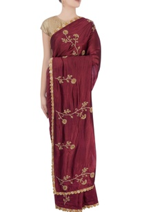 burgundy-brown-goldwork-sari