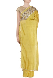 yellow-metal-work-sari