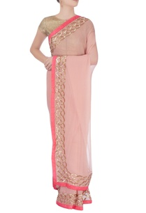 salmon-pink-sari-with-gold-motifs