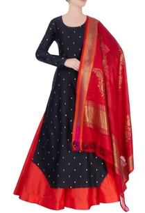 black-red-lehenga-set