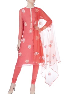 coral-pink-rose-print-kurta