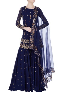 navy-blue-embellished-sharara-pant-set