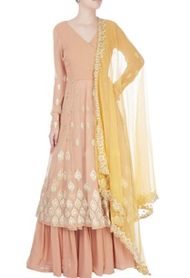 light-orange-embroidered-anarkali-set