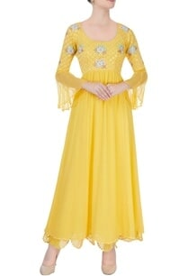 yellow-embroidered-anarkali-with-mirrorwork