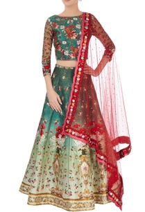 emerald-green-shaded-lehenga-set