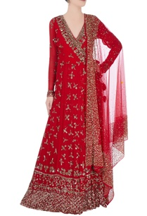 red-anarkali-with-metallic-embroidery