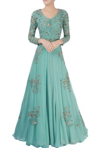 green-thread-work-lehenga