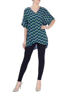 green-blue-geometric-print-blouse