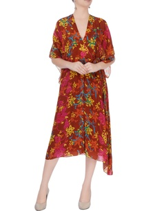 burnt-orange-floral-print-kaftan