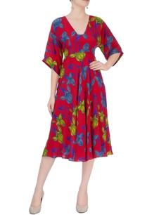 red-floral-print-midi-dress