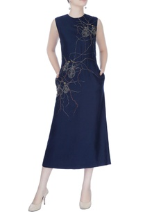 navy-blue-embroidered-dress