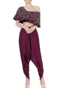 burgundy-brown-top-dhoti-pants