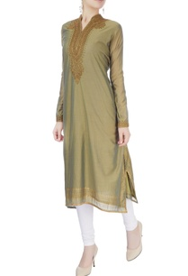 olive-green-embroidered-long-kurta