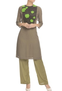 khaki-brown-applique-work-kurta