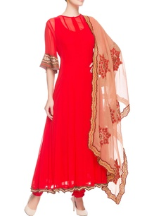 red-embroidered-kurta-with-ruffle-sleeves
