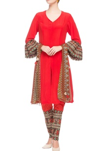 red-kurta-with-bell-sleeves