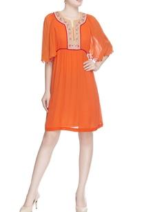 tangerine-orange-embroidered-dress