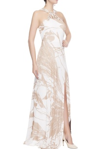 white-brown-gown-with-prints