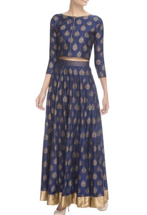 blue-gold-printed-crop-top-with-skirt