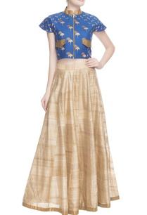 blue-printed-crop-top-skirt