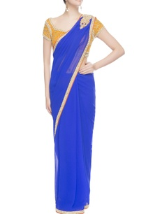 yellow-blue-bead-work-embroidered-sari