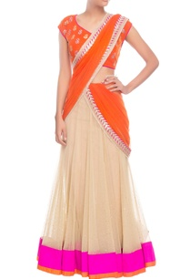 orange-beige-sari-with-silver-embroidery