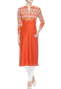 orange-embroidered-long-kurta