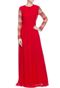 red-gown-with-sheer-sequin-sleeves