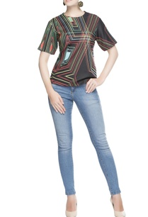 black-abstract-printed-blouse
