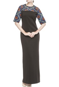 black-gown-with-multicolored-sleeves
