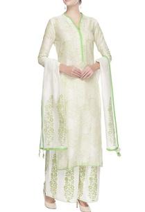 offwhite-kurta-set-with-green-print