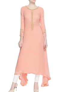 peach-asymmetric-kurta