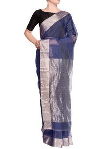 midnight-blue-sari-with-blouse-piece