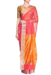 coral-red-lotus-print-sari-with-blouse-piece