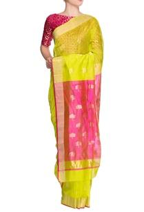 parrot-green-pink-sari-with-blouse-piece