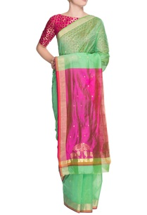pista-green-sari-with-blouse-piece